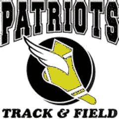 Patriots Track and Field logo - A foot of with a wing on it