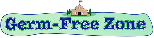 a banner with the words Germ Free zone and a small school house